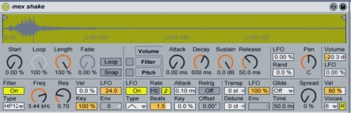 Modulate the shaker's Transpose control with an LFO.